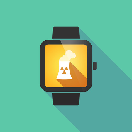 nuclear power station: Long shadow smart watch vector icon with a nuclear power station