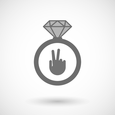 winning proposal: Illustration of an isolated vector ring icon with a victory hand Illustration