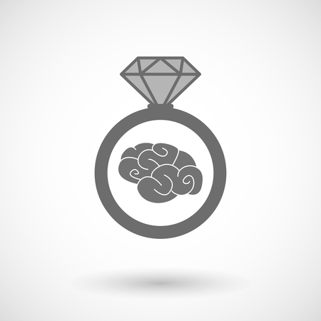 brain illustration: Illustration of an isolated vector ring icon with a brain