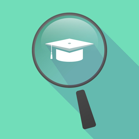 Illustration of a long shadow magnifier vector icon with a graduation cap