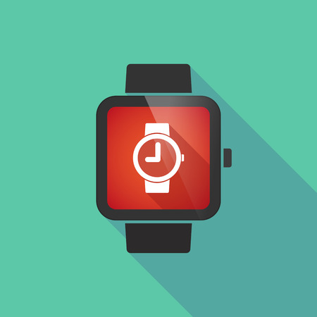 wrist: Long shadow smart watch vector icon with a wrist watch