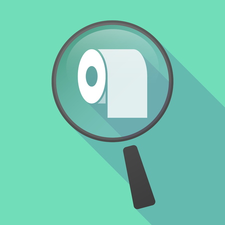 zoom: Illustration of a long shadow magnifier vector icon with a toilet paper roll