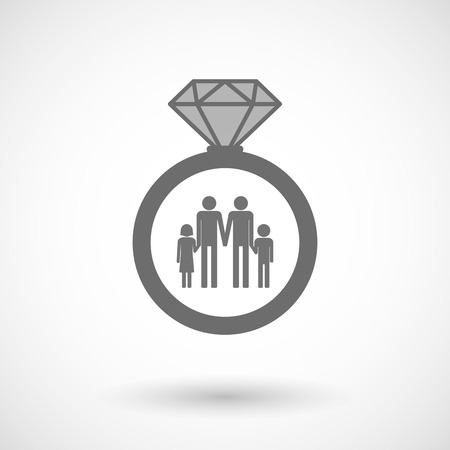 gay family: Illustration of an isolated vector ring icon with a gay parents  family pictogram