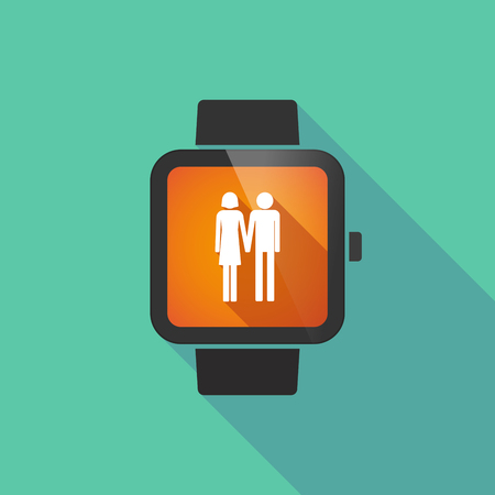 heterosexual couple: Long shadow smart watch vector icon with a heterosexual couple pictogram Illustration