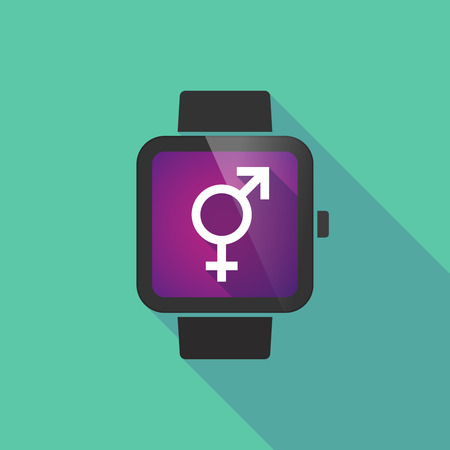 trans gender: Long shadow smart watch vector icon with a transgender symbol Illustration