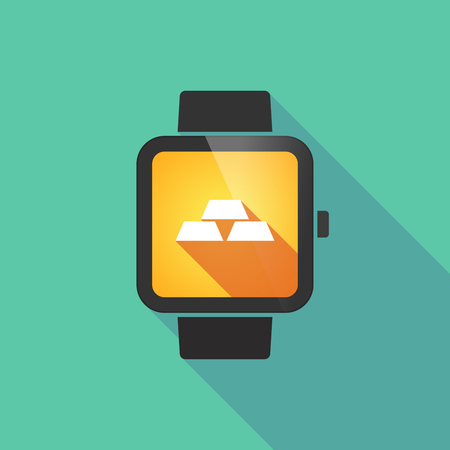 gold watch: Long shadow smart watch vector icon with three gold bullions Illustration