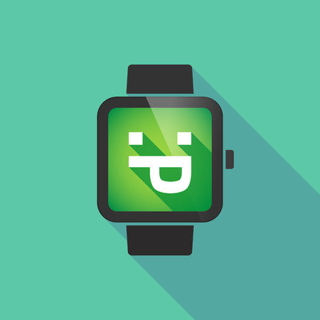 watch out: Long shadow smart watch vector icon with a sticking out tongue text face