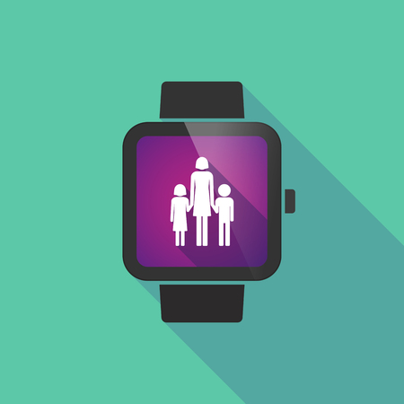 single parent: Long shadow smart watch vector icon with a female single parent family pictogram