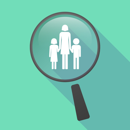 single family: Illustration of a long shadow magnifier vector icon with a female single parent family pictogram
