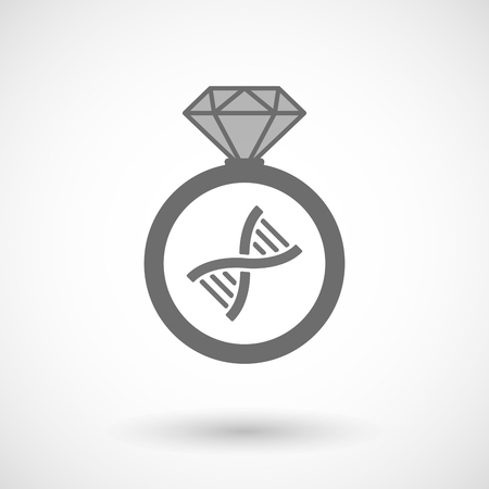 transgenic: Illustration of an isolated vector ring icon with a DNA sign