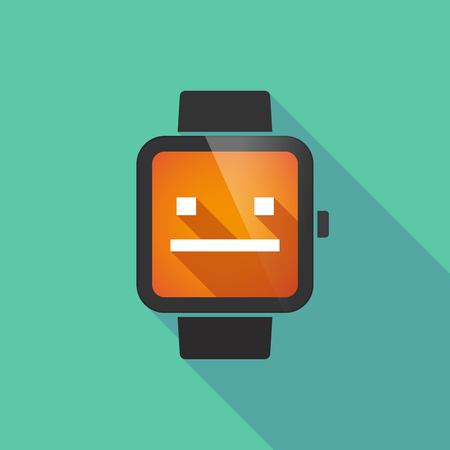 emotionless: Long shadow smart watch vector icon with a emotionless text face