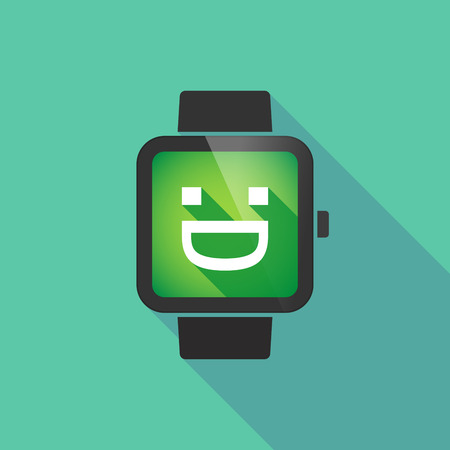 display type: Long shadow smart watch vector icon with a laughing text face