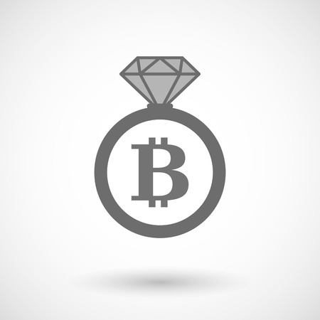 p2p: Illustration of an isolated vector ring icon with a bit coin sign