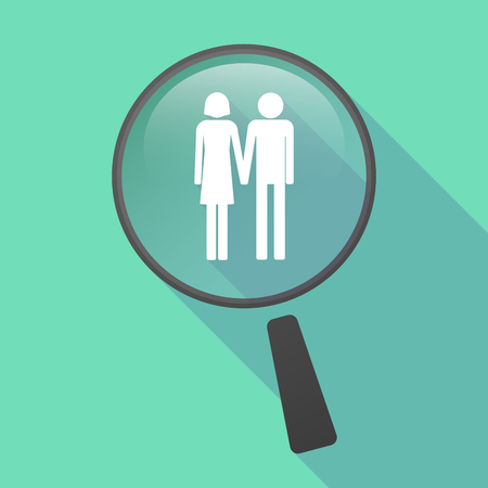 heterosexual: Illustration of a long shadow magnifier vector icon with a heterosexual couple pictogram