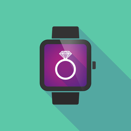 bague de fiancaille: Long shadow smart watch vector icon with an engagement ring