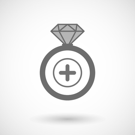 Illustration of an isolated vector ring icon with a sum sign