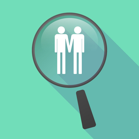 gay couple: Illustration of a long shadow magnifier vector icon with a gay couple pictogram