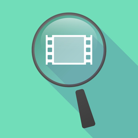 documentary: Illustration of a long shadow magnifier vector icon with a film photogram Illustration
