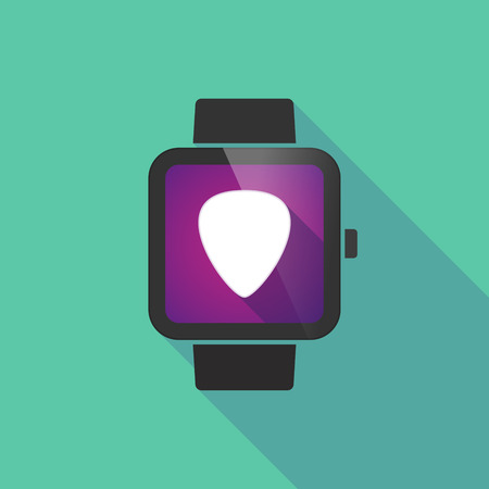 plectrum: Long shadow smart watch vector icon with a plectrum
