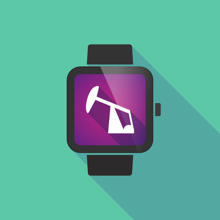 horsehead pump: Long shadow smart watch vector icon with a horsehead pump Illustration