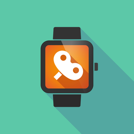 crank: Long shadow smart watch vector icon with a toy crank