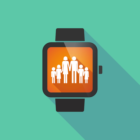 large family: Long shadow smart watch vector icon with a large family  pictogram