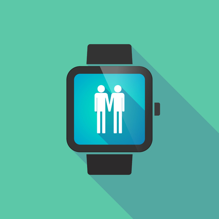 homosexual wedding: Long shadow smart watch vector icon with a gay couple pictogram Illustration