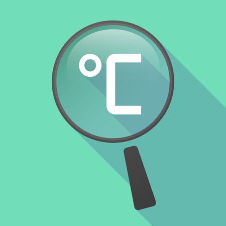 celsius: Illustration of a long shadow magnifier vector icon with  a celsius degree sign Illustration
