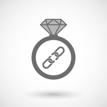 broken link: Illustration of an isolated vector ring icon with a broken chain