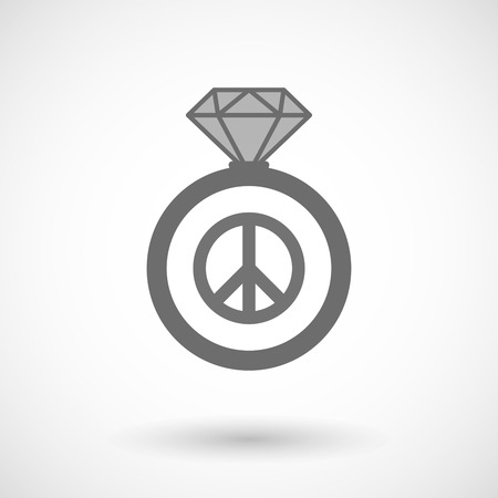 gift of hope: Illustration of an isolated vector ring icon with a peace sign Illustration