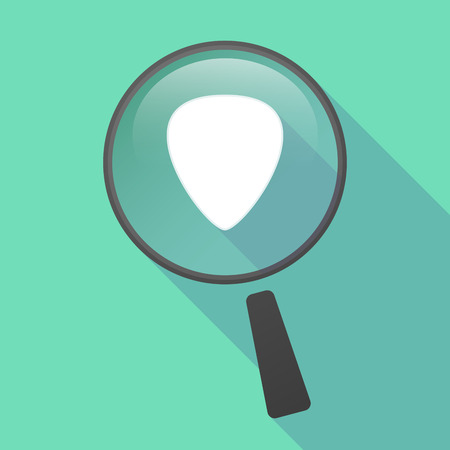 plectrum: Illustration of a long shadow magnifier vector icon with a plectrum