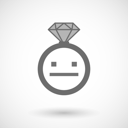 emotionless: Illustration of an isolated vector ring icon with a emotionless text face