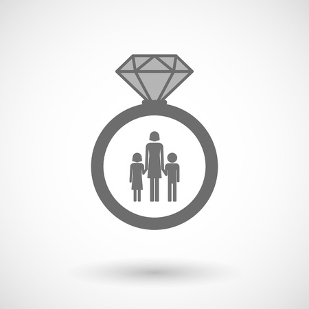 single family: Illustration of an isolated vector ring icon with a female single parent family pictogram
