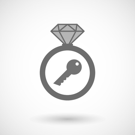 key ring: Illustration of an isolated vector ring icon with a key