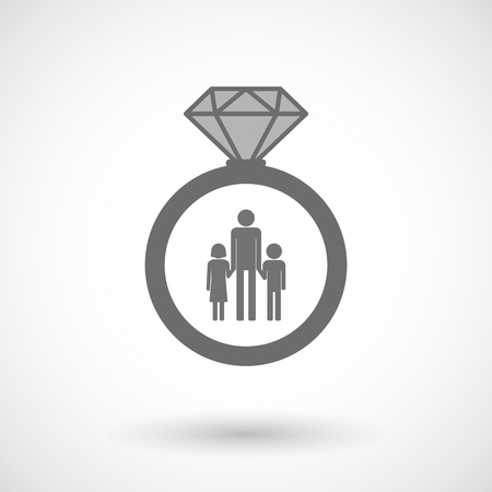 single parent family: Illustration of an isolated vector ring icon with a male single parent family pictogram