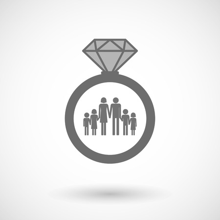 large family: Illustration of an isolated vector ring icon with a large family  pictogram