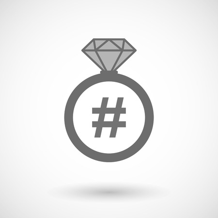 hash: Illustration of an isolated vector ring icon with a hash tag Illustration