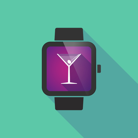 watch glass: Long shadow smart watch vector icon with a cocktail glass