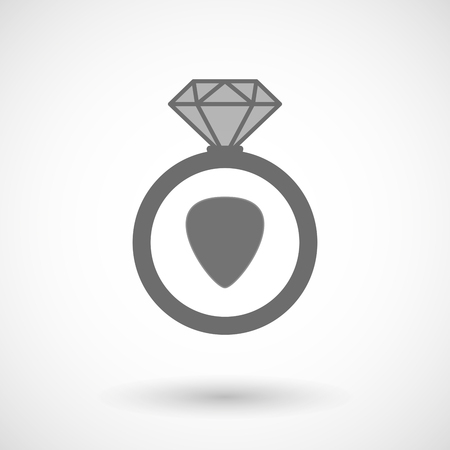 plectrum: Illustration of an isolated vector ring icon with a plectrum