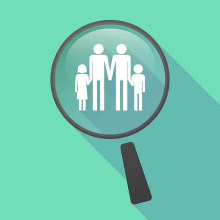 gay family: Illustration of a long shadow magnifier vector icon with a gay parents  family pictogram
