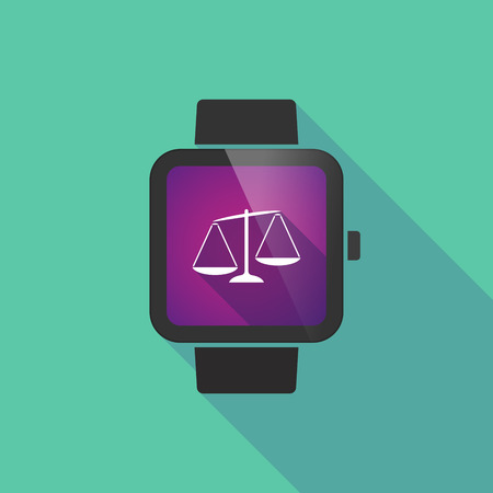 unbalanced: Long shadow smart watch vector icon with  an unbalanced weight scale