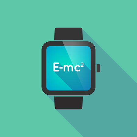 relativity: Long shadow smart watch vector icon with the Theory of Relativity formula