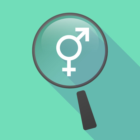 trans gender: Illustration of a long shadow magnifier vector icon with a transgender symbol