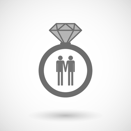 homosexual wedding: Illustration of an isolated vector ring icon with a gay couple pictogram