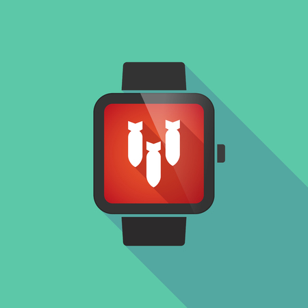 explosive watch: Long shadow smart watch vector icon with three bombs falling