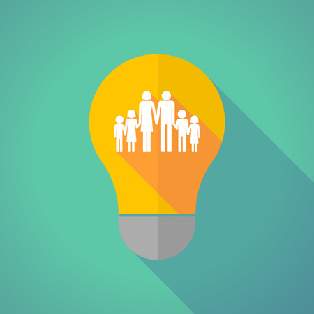 large family: Illustration of a long shadow vector light bulb with a large family  pictogram Illustration