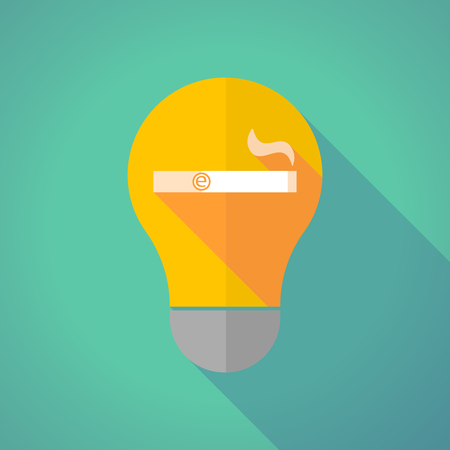 e cigarette: Illustration of a long shadow vector light bulb with an electronic cigarette