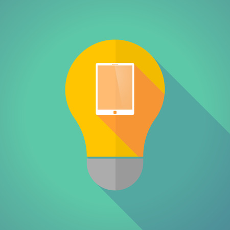 invent things: Illustration of a long shadow vector light bulb with a tablet computer