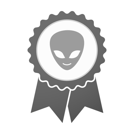 alien face: Illustration of an isolated vector badge icon with an alien face