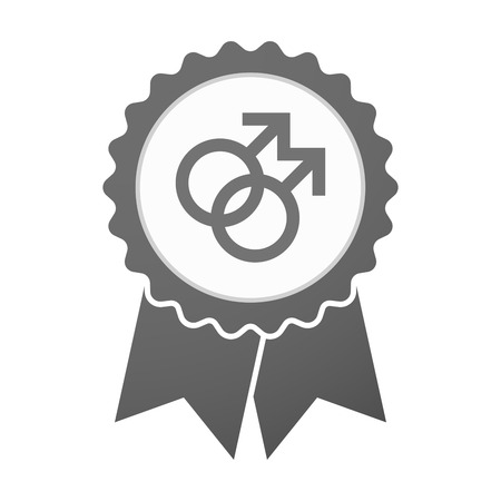 homosexual sex: Illustration of an isolated vector badge icon with a gay sign